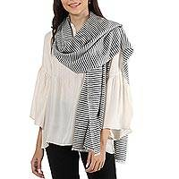 Cashmere shawl, 'Modern Lines in Black' - Black and White Stripe Handwoven 100% Cashmere Shawl