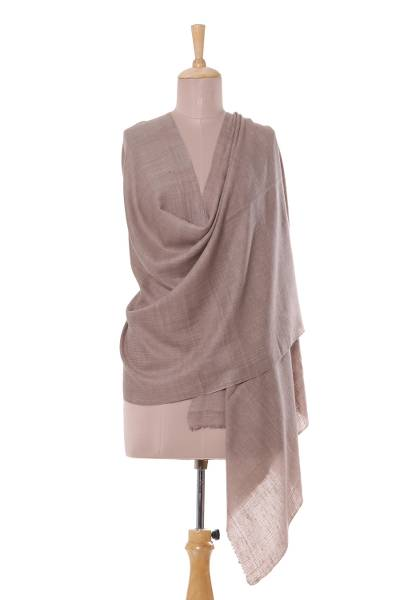 Cashmere shawl, 'Gossamer Glory in Taupe' - Solid Taupe 100% Cashmere Handwoven Shawl from India