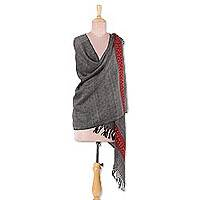 Wool shawl, 'Gorgeous Geometry' - Black and Taupe Geometric Motif 100% Wool Handwoven Shawl