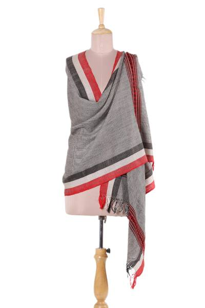 Wool shawl, 'Delightful Style' - Handwoven Bordered Wool Shawl from India