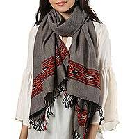 Wool shawl, 'Fiery Direction' - Taupe with Colorful Border 100% Wool Handwoven Fringed Shawl