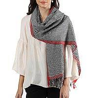 Wool shawl, 'Chic Checkerboard' - Red Edged Black and White Checkerboard Wool Handwoven Shawl