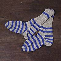 Wool socks, 'Soft Stripes' - 100% Wool Hand Knit Socks with Stripes in Blue and Beige