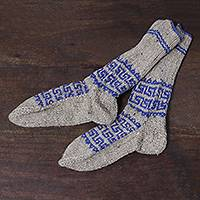 Wool socks, 'Cozy Blue' - Hand Knit 100% Wool Socks with Geometric Pattern from India