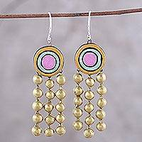 Ceramic dangle earrings, 'Globular Dance' - Colorful Handmade Terracotta Dangle Earrings from India