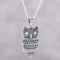 Sterling silver pendant necklace, 'Owl Flair'