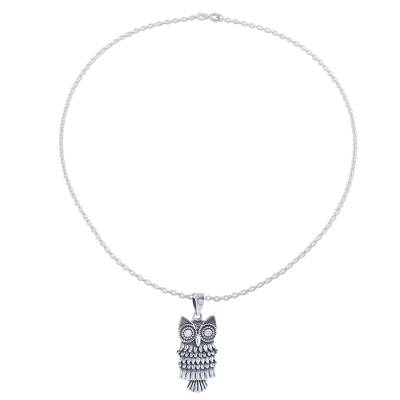 Sterling silver pendant necklace, 'Owl Flair' - Combination Finish Sterling Silver Owl Pendant Necklace