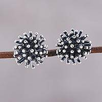 Sterling silver stud earrings, 'Spiny Burst' - Modern Sterling Silver Stud Earrings from India