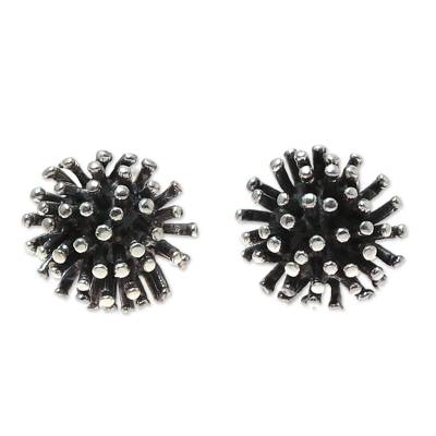 Sterling silver stud earrings, 'Spiny Burst' - Modern Sterling Silver Stud Earrings from India