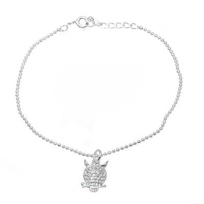 Sterling silver charm bracelet, 'Hooting Owl' - Sterling Silver Owl Charm Bracelet from India