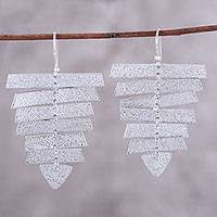 Rhodium plated sterling silver dangle earrings, 'Beautiful Shimmer' - Modern Rhodium Plated Sterling Silver Dangle Earrings