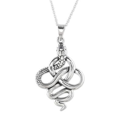 Sterling silver pendant necklace, 'Sensational Serpent' - Handcrafted Sterling Silver Snake Pendant Necklace