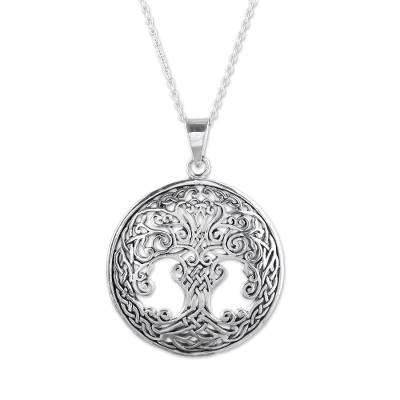 Sterling silver pendant necklace, 'Magnificent Tree' - Handcrafted Sterling Silver Ornate Forest Pendant Necklace