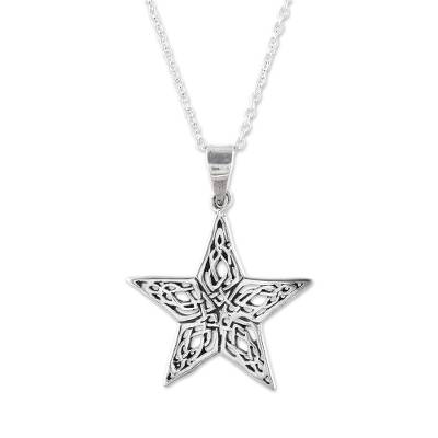Sterling silver pendant necklace, 'Guiding Light' - Handcrafted Sterling Silver Ornate Star Pendant Necklace