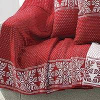 Reversible knit throw, 'Snowflake Charm' - Snowflake Knit Throw Blanket in Poppy from India