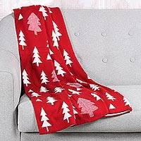 Reversible knit throw, 'Pine Dale in Poppy' - Reversible Pine Tree Knit Throw Blanket in Poppy from India
