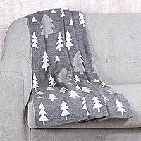 Reversible knit throw, 'Pine Dale in Slate' - Pine Tree Knit Throw Blanket in Slate from India