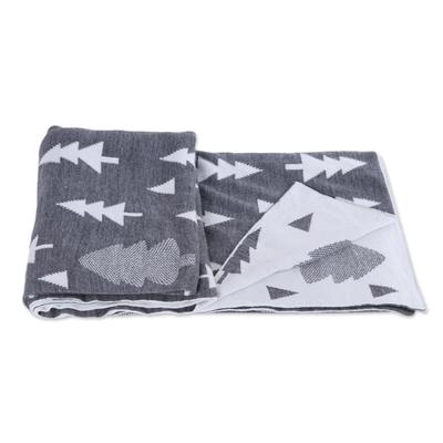 NOVICA 347988 Pine Dale in Slate Knit Throw Grey