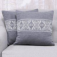 Knit cushion covers, 'Snowflake Charm in Slate' (pair) - Snowflake Knit Cushion Covers in Slate from India (Pair)