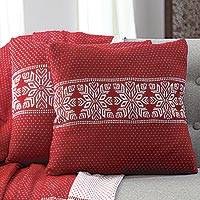 Knit cushion covers, 'Snowflake Charm in Poppy' (pair) - Snowflake Knit Cushion Covers in Poppy from India (Pair)