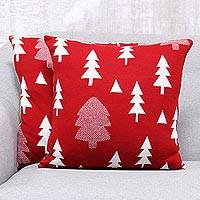 Knit cushion covers, 'Pine Dale in Poppy' (pair) - Pine Tree Knit Cushion Covers in Poppy from India (Pair)
