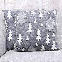 Knit cushion covers, 'Pine Dale in Slate' (pair) - Pine Tree Knit Cushion Covers in Slate from India (Pair)