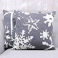 Knit cushion covers, 'Christmas Fantasy in Slate' (pair) - Christmas-Themed Knit Cushion Covers in Slate (Pair)