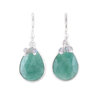 Aventurine and labradorite dangle earrings, 'Sea Tears' - Aventurine Teardrop and Sterling Silver Dangle Earrings
