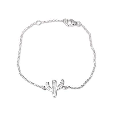 Sterling silver pendant bracelet, 'Charming Cactus' - Handcrafted Sterling Silver Saguaro Cactus Pendant Bracelet