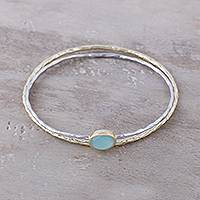 18k gold plated sterling silver and chalcedony bangle bracelets, 'Sliver of Sky' (pair) - 18K Gold Plated Sterling Silver Bangle Bracelets (Pair)