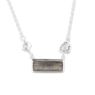 Labradorite pendant necklace, 'Sliver of Dusk' - Modern Labradorite and Sterling Silver Pendant Necklace
