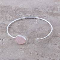 Rose quartz cuff bracelet, 'Pink Peek' - Rose Quartz Oval and Sterling Silver Cuff Bracelet