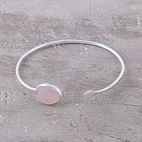 Rose quartz cuff bracelet, 'Pink Peek'
