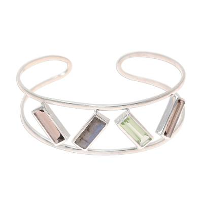 Multi-gemstone cuff bracelet, 'Tilted Windows' - Multi-Gemstone and Sterling Silver Modern Cuff Bracelet