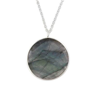 Labradorite pendant necklace, 'Aurora Moon' - Circular Labradorite Pendant Necklace from India