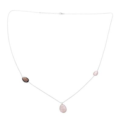 Rose quartz and smoky quartz pendant necklace, 'Egg Glitter' - Rose Quartz and Smoky Quartz Pendant Necklace from India