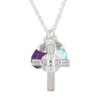 Amethyst and Chalcedony Cross Pendant Necklace from India