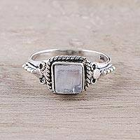 Rainbow moonstone cocktail ring, 'Misty Depths' - Square Rainbow Moonstone and Sterling Silver Cocktail Ring
