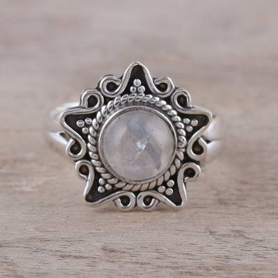 Rainbow moonstone cocktail ring, 'Shine Through the Mist' - Rainbow Moonstone and Sterling Silver Star Cocktail Ring