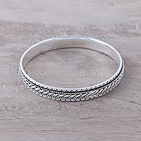Sterling silver bangle bracelet, 'Elegant Textures' - Sterling Silver Rope Motif Textured Bangle Bracelet