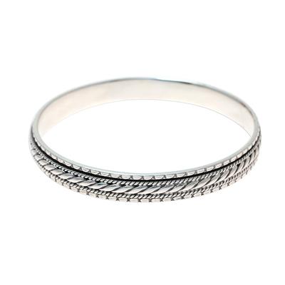 Sterling silver bangle bracelet, 'Elegant Textures' - Sterling Silver Rope Motif Textured Bangle Bracelet