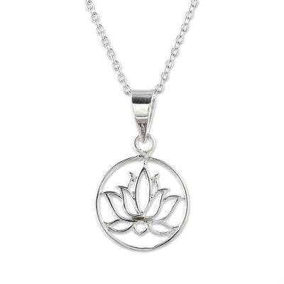 Sterling silver pendant necklace, 'Lotus in Bloom' - Handcrafted Sterling Silver Lotus Bloom Pendant Necklace
