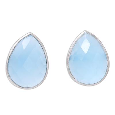 Teardrop Chalcedony Button Earrings from India