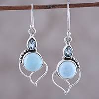 Blue topaz and larimar dangle earrings, 'Secret Allure' - Blue Topaz and Larimar Dangle Earrings Crafted in India