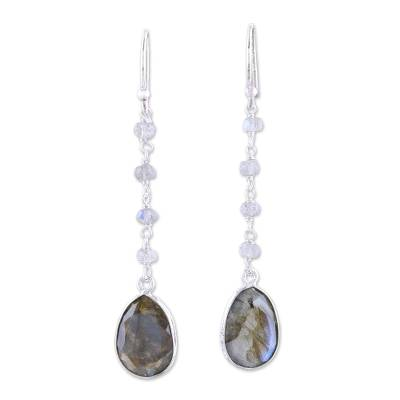 Labradorite dangle earrings, 'Raining Drops' - 10-Carat Labradorite Dangle Earrings from India