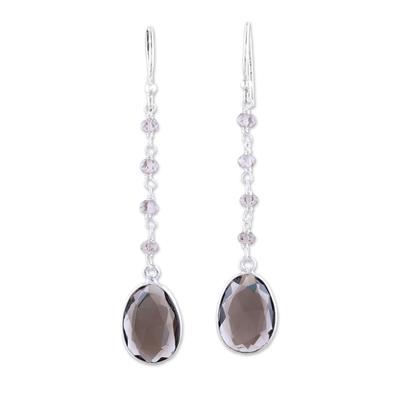 Smoky quartz dangle earrings, 'Raining Drops' - 7.5-Carat Smoky Quartz Dangle Earrings from India
