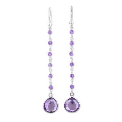 Amethyst dangle earrings, 'Morning Drops' - 8-Carat Amethyst Dangle Earrings from India