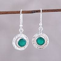 Onyx dangle earrings, 'Green Charm' - Round Green Onyx Dangle Earrings from India