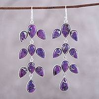 Sterling silver and composite turquoise dangle earrings, 'Leaf Cascade' - Sterling Silver Purple Composite Turquoise Dangle Earrings