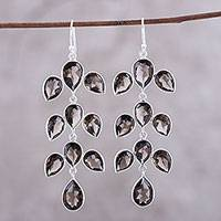 Smoky quartz dangle earrings, 'Leaf Cascade' - 44-Carat Smoky Quartz Dangle Earrings from India